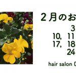 長岡京市の理容店 ヘアーサロンデュオ 2月の定休日
